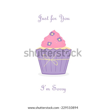 Lavender Pink Cupcake - I'm Sorry - stock photo