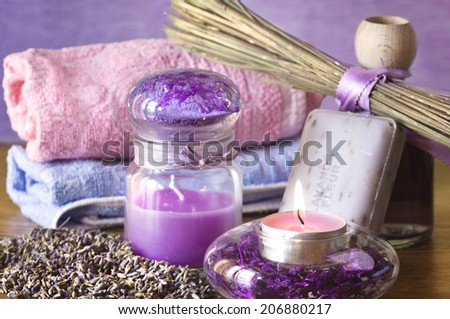 lavender spa accessories  with soap and candles
