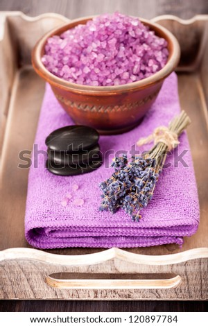 Lavender spa and zen stones. Concept in a vintage style. - stock photo