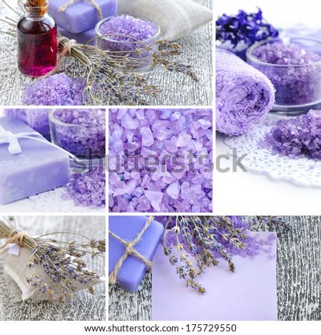Lavender spa collage - stock photo