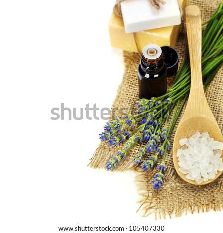 lavender spa (fresh lavender flowers,  essential oil, salt,  soap) over white - stock photo