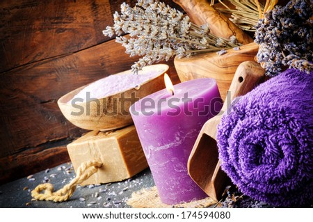 Lavender spa setting. Natural wellness concept  - stock photo