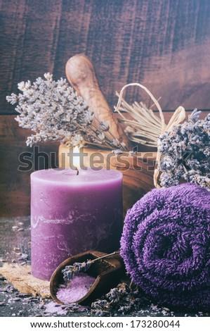 Lavender spa setting. Toned image - stock photo