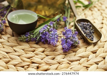 Lavender tea and fresh lavender flowers - stock photo