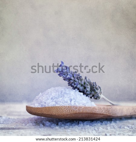 Lavender treatment  on wooden table - stock photo