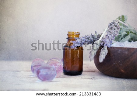 Lavender treatment  on wooden table