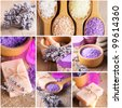 Lavender treatment soap and sea salt on wooden table - stock photo