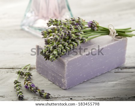 lavender with bath product - stock photo