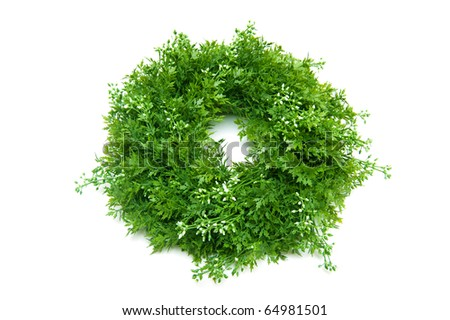 lavender wreath isolated on white - stock photo