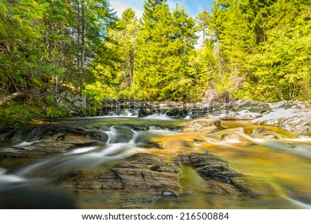 Laverty Brook shot with  long exposure (Fundy National Park, New Brunswick, Canada) - stock photo