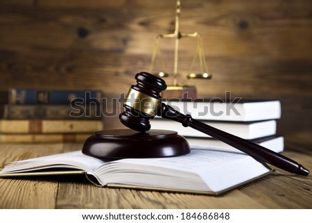 Law and justice concept, legal code and scales  - stock photo