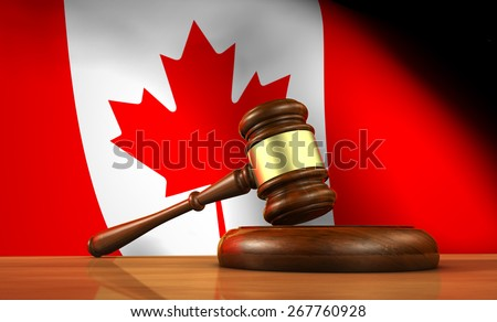 Law and justice of Canada concept with a 3d rendering of a gavel on a wooden desktop and the Canadian flag on background. - stock photo