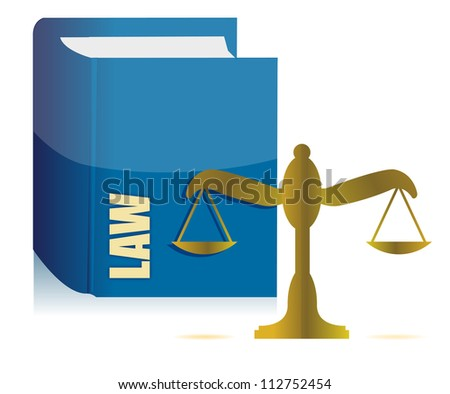 Law book and balance illustration design over white - stock photo