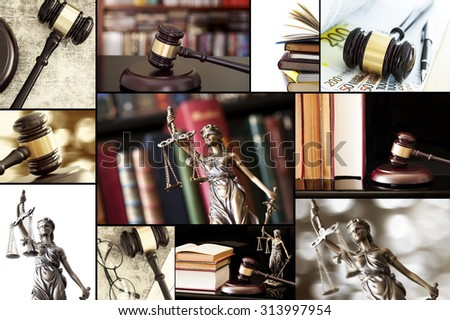 Law collage - stock photo