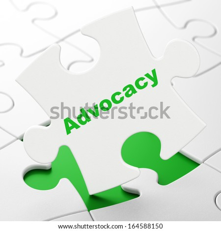 Law concept: Advocacy on White puzzle pieces background, 3d render - stock photo
