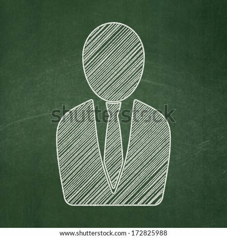 Law concept: Business Man icon on Green chalkboard background, 3d render - stock photo