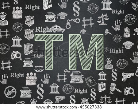 Law concept: Chalk Green Trademark icon on School board background with  Hand Drawn Law Icons, School Board - stock photo