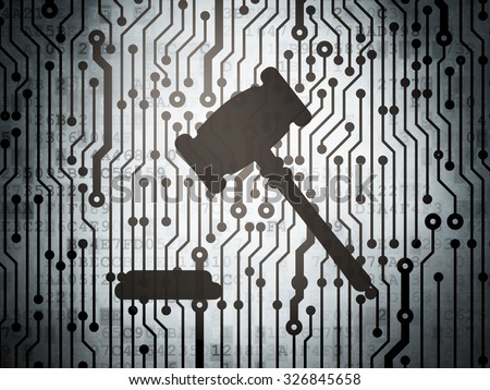 Law concept: circuit board with  Gavel icon, 3d render - stock photo