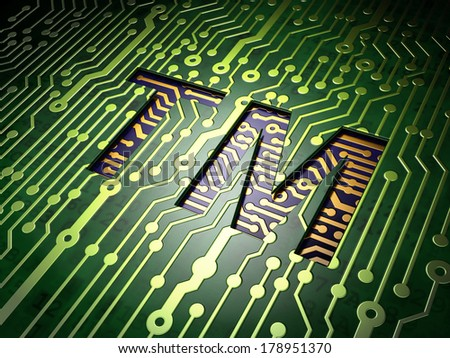 Law concept: circuit board with Trademark icon, 3d render - stock photo
