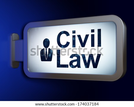 Law concept: Civil Law and Business Man on advertising billboard background, 3d render - stock photo