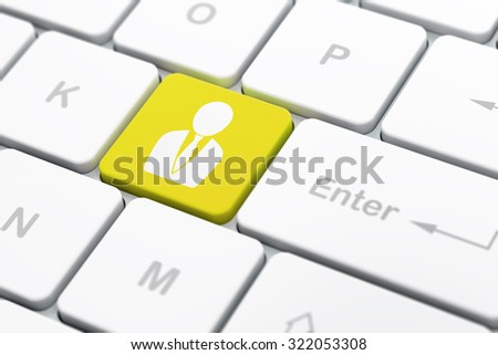 Law concept: computer keyboard with Business Man icon on enter button background, selected focus, 3d render