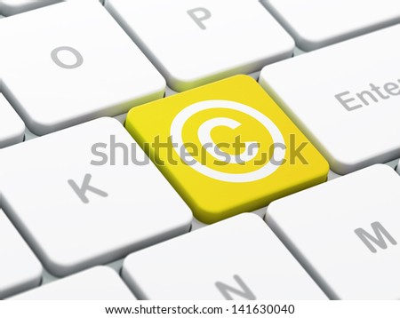 Law concept: computer keyboard with Copyright icon on enter button background, selected focus, 3d render - stock photo
