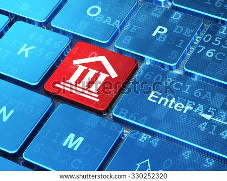 Law concept: computer keyboard with Courthouse icon on enter button background, 3d render - stock photo
