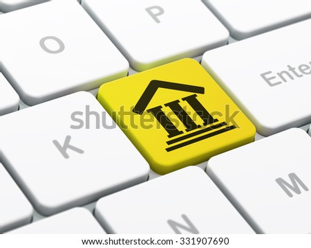 Law concept: computer keyboard with Courthouse icon on enter button background, selected focus, 3d render - stock photo