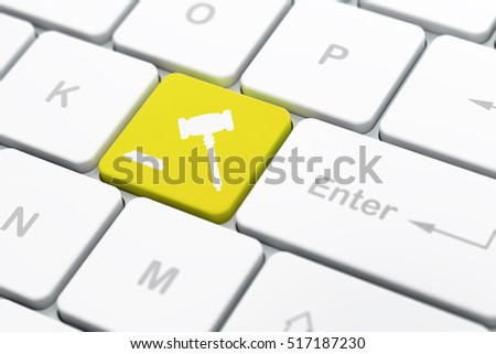 Law concept: computer keyboard with Gavel icon on enter button background, selected focus, 3D rendering