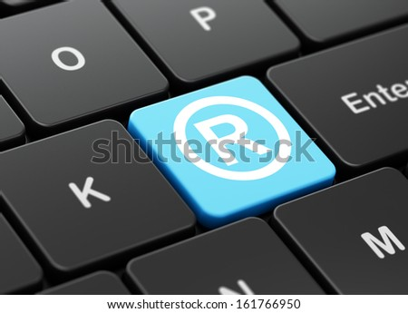 Law concept: computer keyboard with Registered icon on enter button background, 3d render