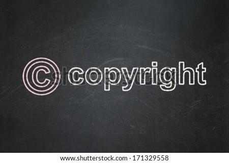 Law concept: Copyright icon and text Copyright on Black chalkboard background, 3d render - stock photo