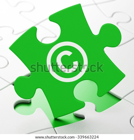 Law concept: Copyright on Green puzzle pieces background, 3d render - stock photo
