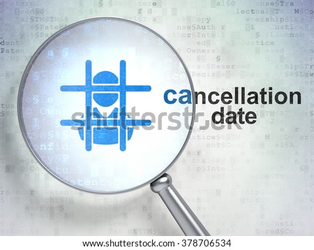 Law concept: Criminal and Cancellation Date with optical glass - stock photo