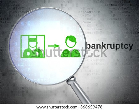 Law concept: Criminal Freed and Bankruptcy with optical glass - stock photo