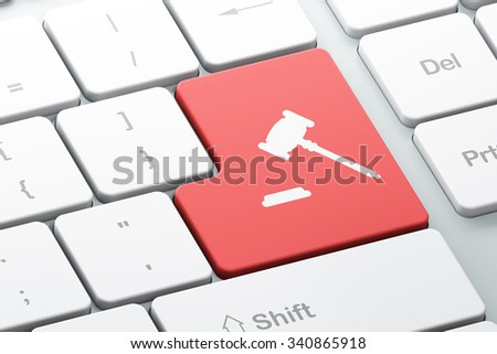 Law concept: Enter button with Gavel on computer keyboard background, 3d render - stock photo