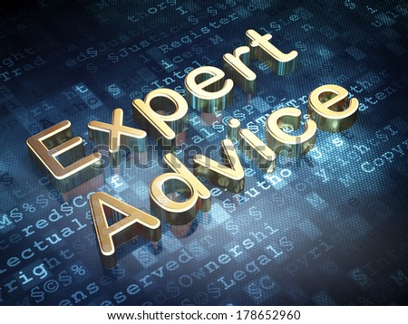 Law concept: Golden Expert Advice on digital background, 3d render - stock photo
