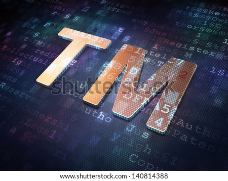 Law concept: Golden Trademark on digital background, 3d render - stock photo