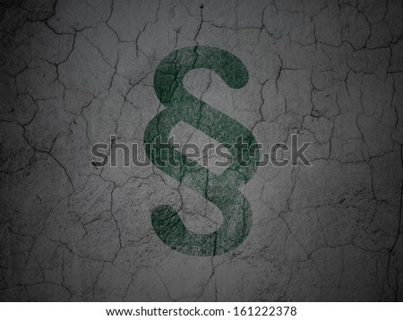 Law concept: Green Paragraph on grunge textured concrete wall background, 3d render - stock photo