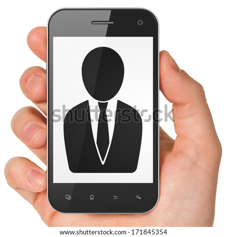 Law concept: hand holding smartphone with Business Man on display. Mobile smart phone on White background, 3d render - stock photo