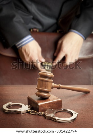 Law concept - lawyer in court - stock photo