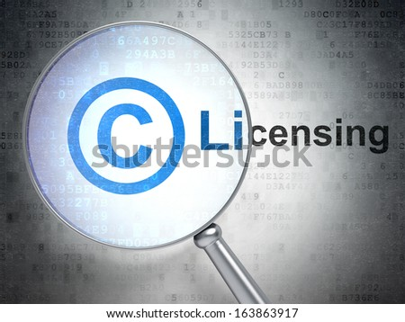 Law concept: magnifying optical glass with Copyright icon and Licensing word on digital background, 3d render