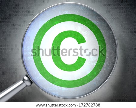 Law concept: magnifying optical glass with Copyright icon on digital background, 3d render - stock photo
