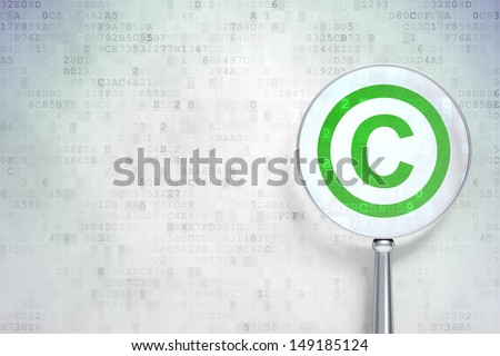 Law concept: magnifying optical glass with Copyright icon on digital background, empty copyspace for card, text, advertising, 3d render - stock photo