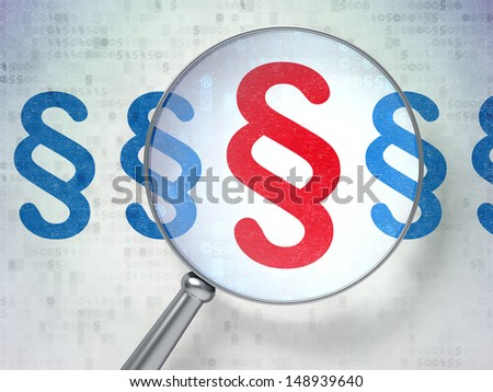 Law concept: magnifying optical glass with Paragraph icons on digital background, 3d render - stock photo
