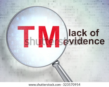 Law concept: magnifying optical glass with Trademark icon and Lack Of Evidence word on digital background - stock photo