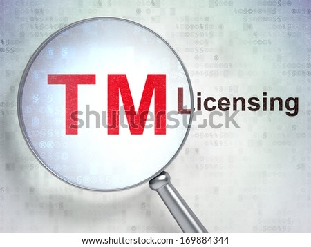 Law concept: magnifying optical glass with Trademark icon and Licensing word on digital background, 3d render - stock photo
