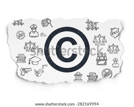 Law concept: Painted black Copyright icon on Torn Paper background with  Hand Drawn Law Icons, 3d render - stock photo