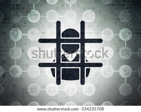 Law concept: Painted black Criminal icon on Digital Paper background with Scheme Of Hand Drawn Law Icons - stock photo