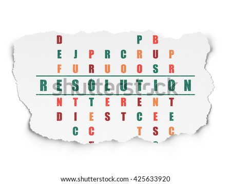 Law concept: Painted green word Resolution in solving Crossword Puzzle on Torn Paper background - stock photo