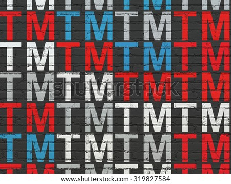 Law concept: Painted multicolor Trademark icons on Black Brick wall background - stock photo